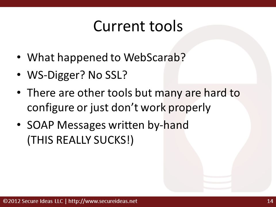 Current tools What happened to WebScarab WS-Digger No SSL