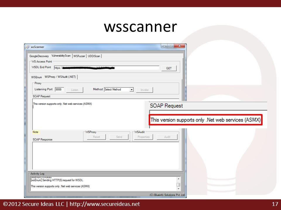 wsscanner ©2012 Secure Ideas LLC | http://www.secureideas.net