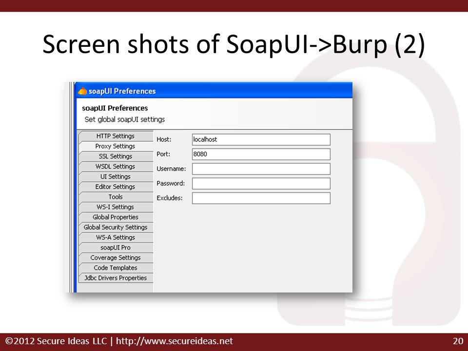 Screen shots of SoapUI->Burp (2)