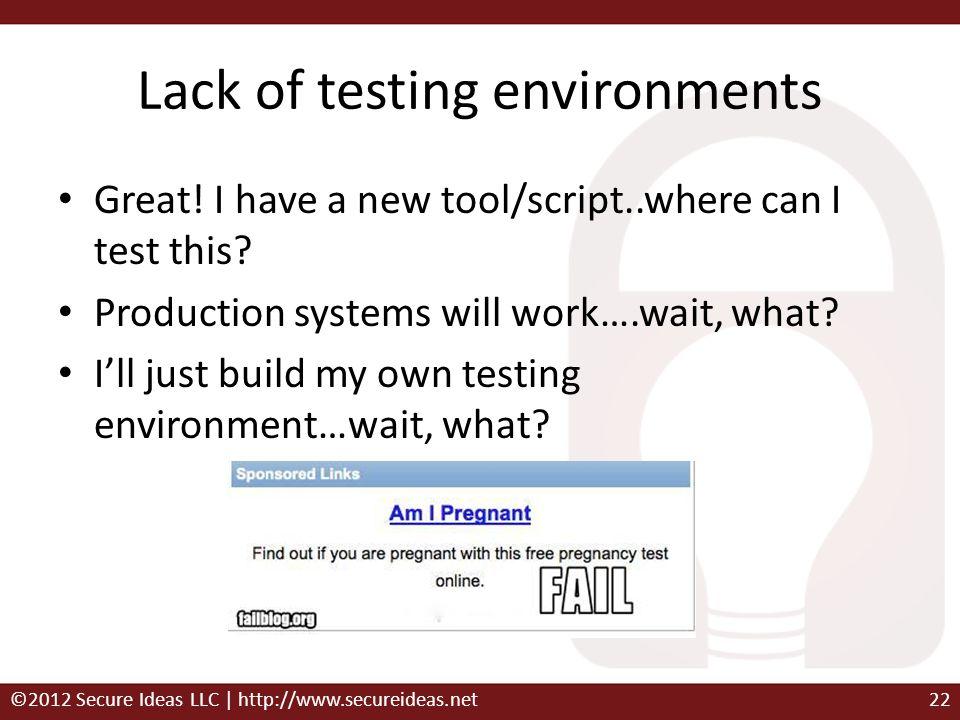 Lack of testing environments