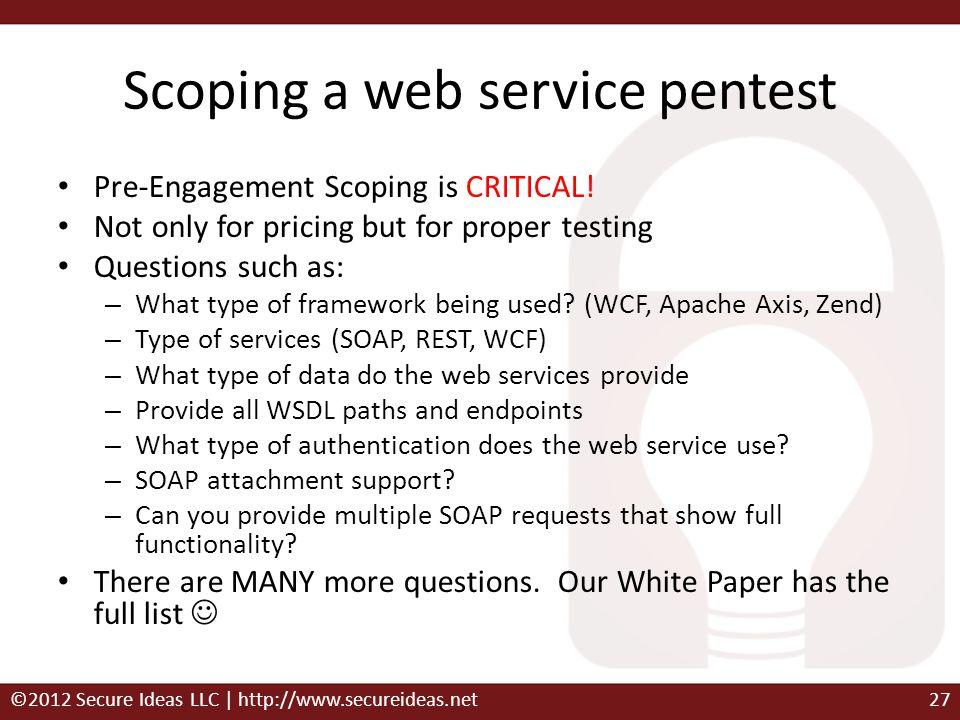 Scoping a web service pentest