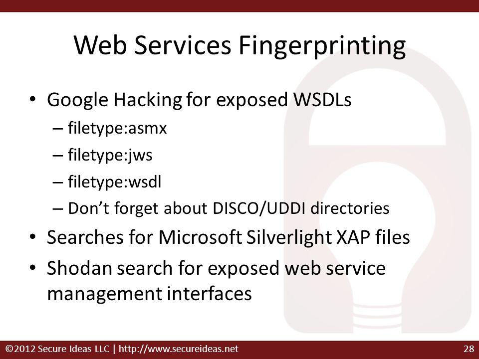 Web Services Fingerprinting