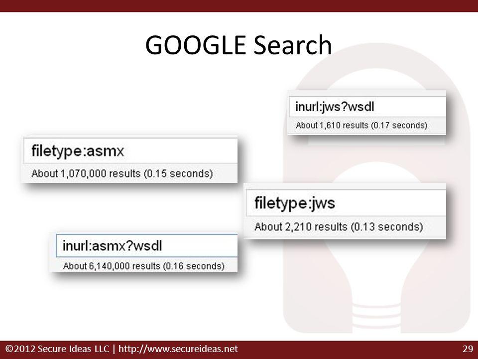 GOOGLE Search ©2012 Secure Ideas LLC | http://www.secureideas.net