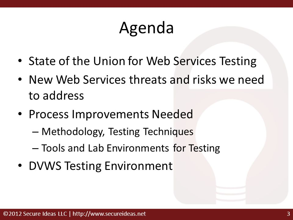 Agenda State of the Union for Web Services Testing
