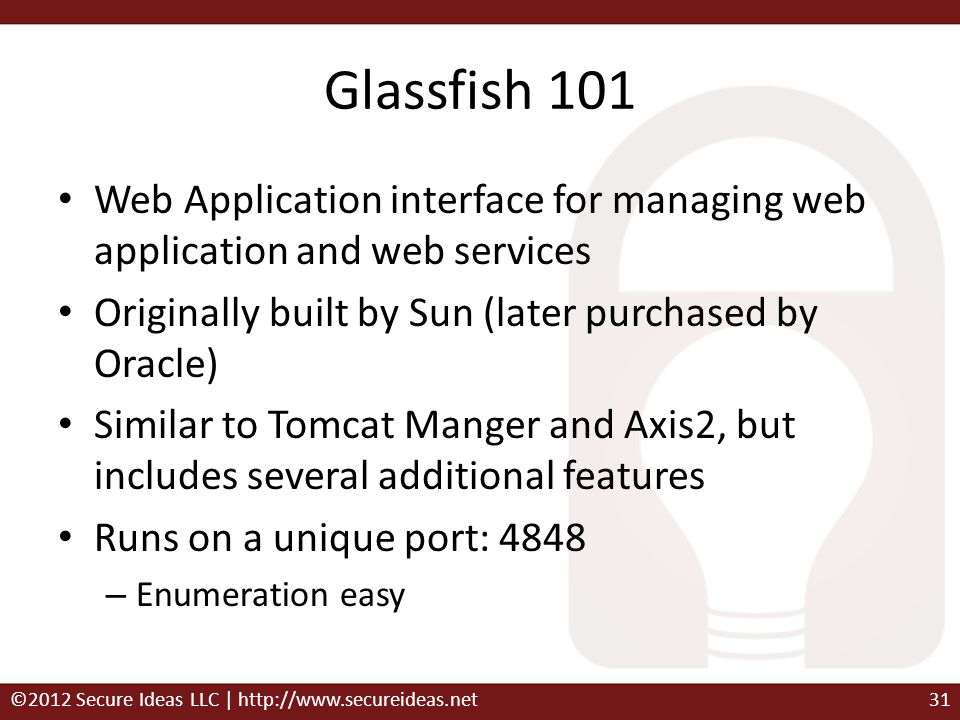Glassfish 101 Web Application interface for managing web application and web services. Originally built by Sun (later purchased by Oracle)