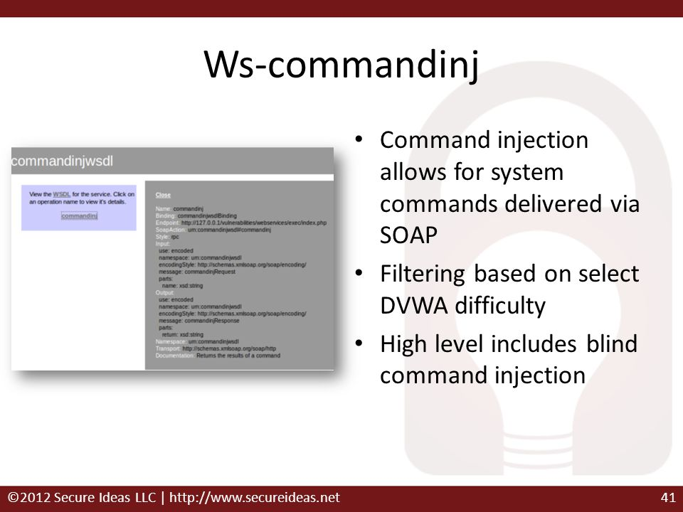Ws-commandinj Command injection allows for system commands delivered via SOAP. Filtering based on select DVWA difficulty.