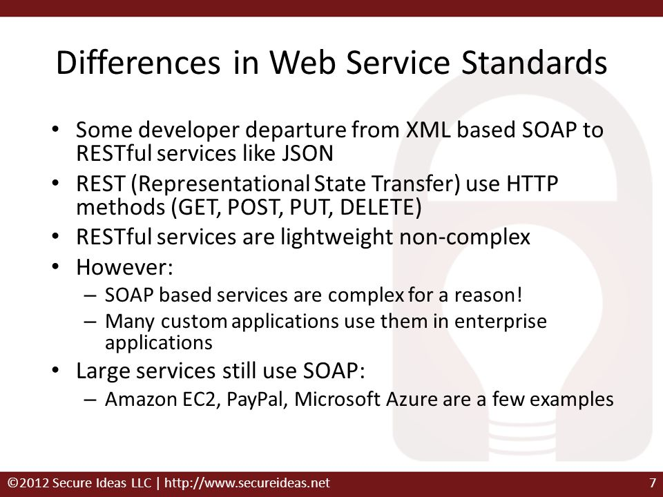 Differences in Web Service Standards