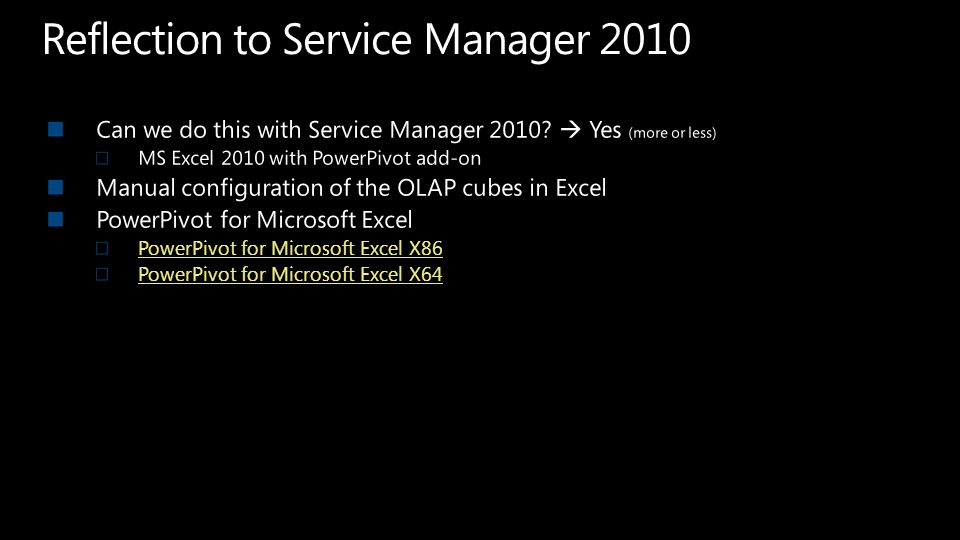 Reflection to Service Manager 2010