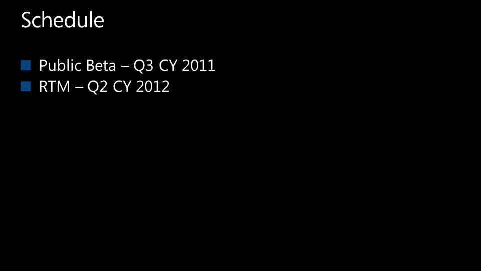Schedule Public Beta – Q3 CY 2011 RTM – Q2 CY 2012