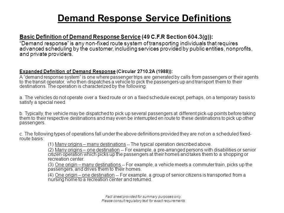 Demand Response Service Definitions