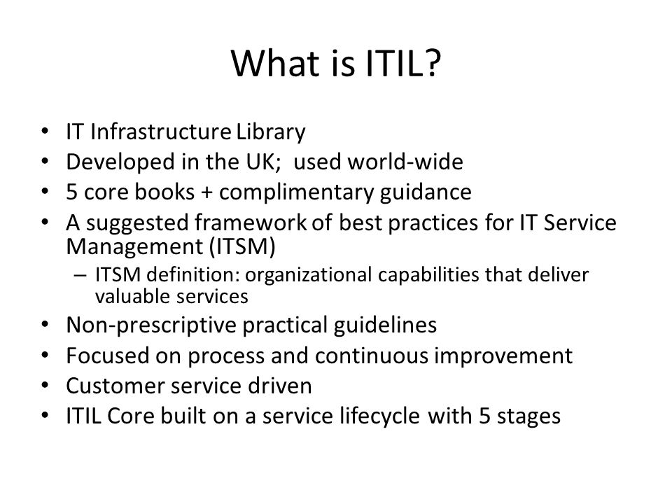 What is ITIL IT Infrastructure Library