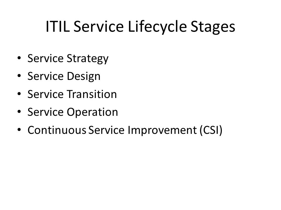 ITIL Service Lifecycle Stages