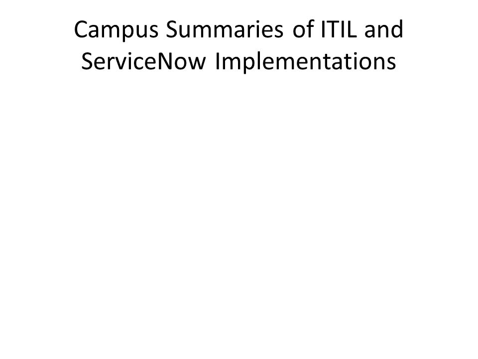 Campus Summaries of ITIL and ServiceNow Implementations