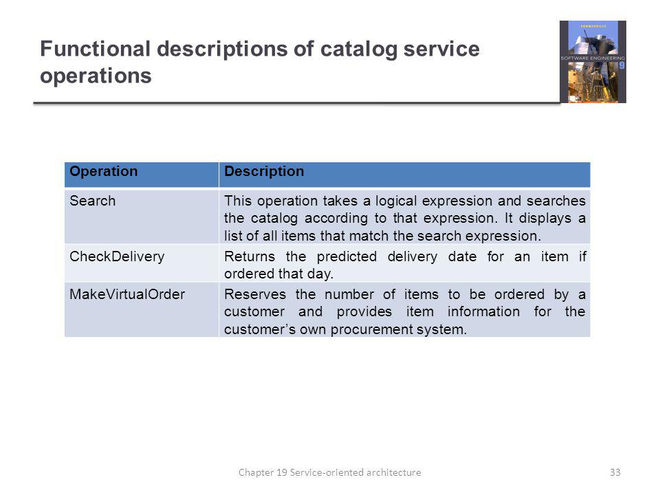 Functional descriptions of catalog service operations