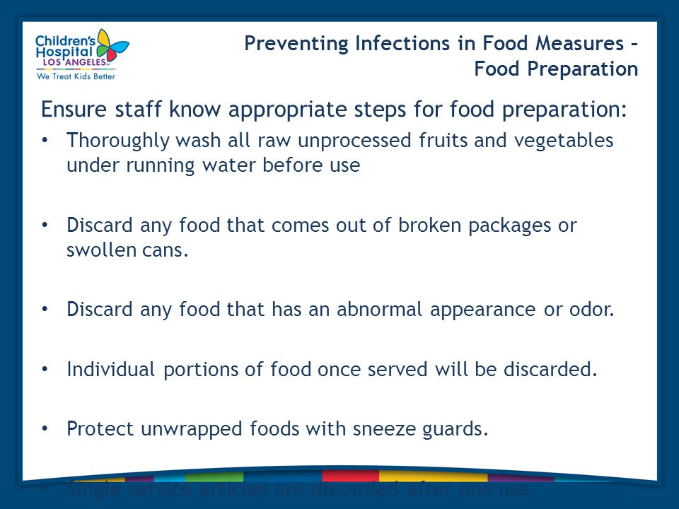 Preventing Infections in Food Measures – Food Preparation