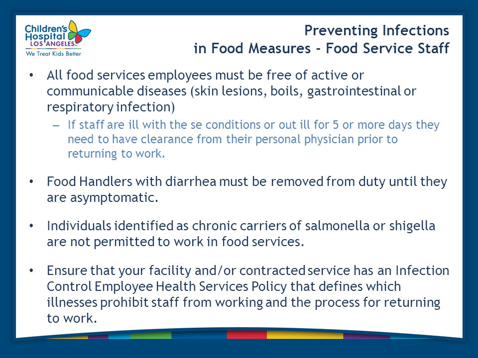 Preventing Infections in Food Measures - Food Service Staff