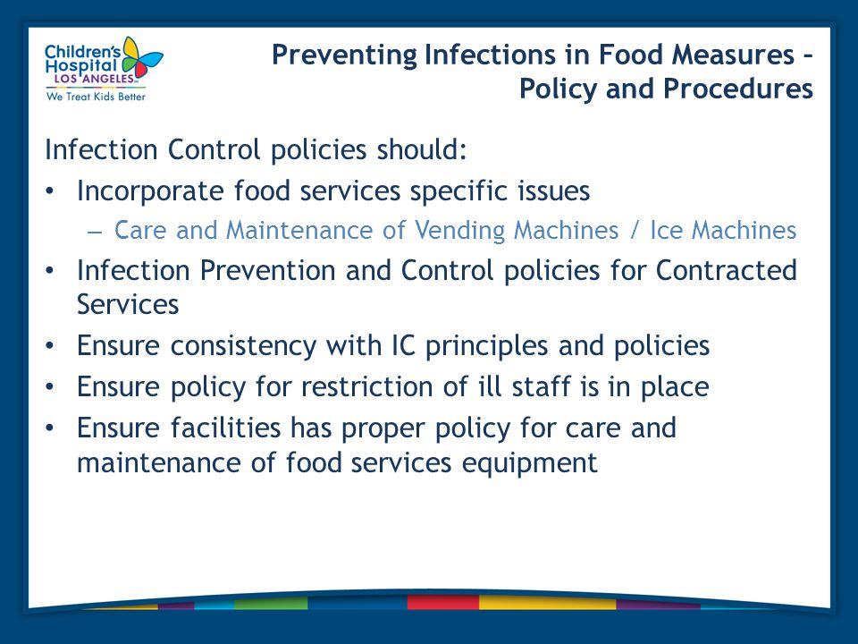 Preventing Infections in Food Measures – Policy and Procedures