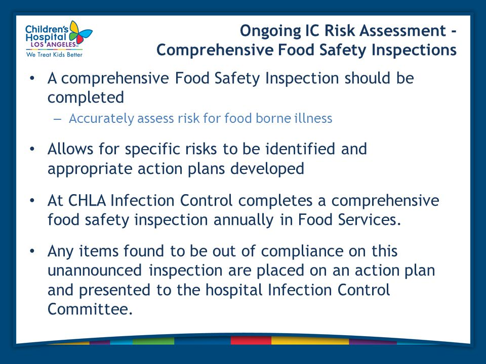Ongoing IC Risk Assessment - Comprehensive Food Safety Inspections