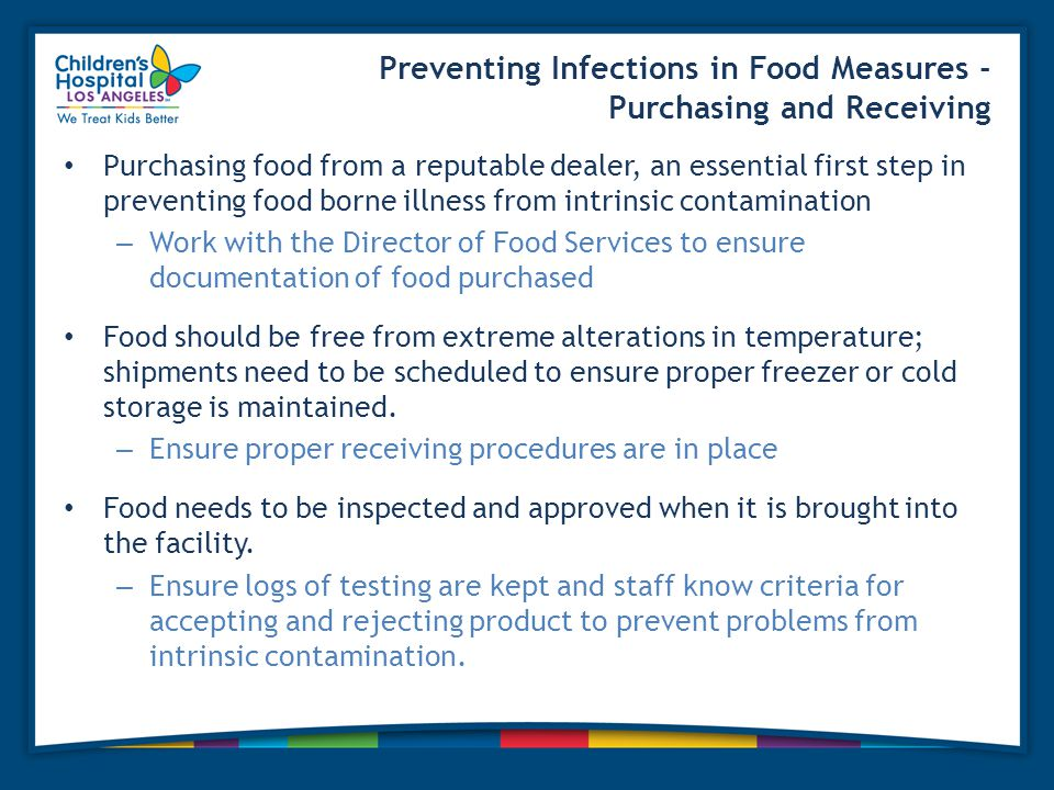 Preventing Infections in Food Measures - Purchasing and Receiving