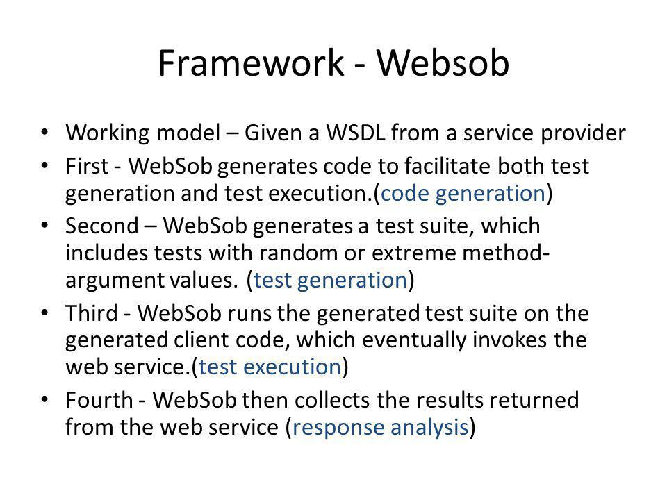 Framework - Websob Working model – Given a WSDL from a service provider.