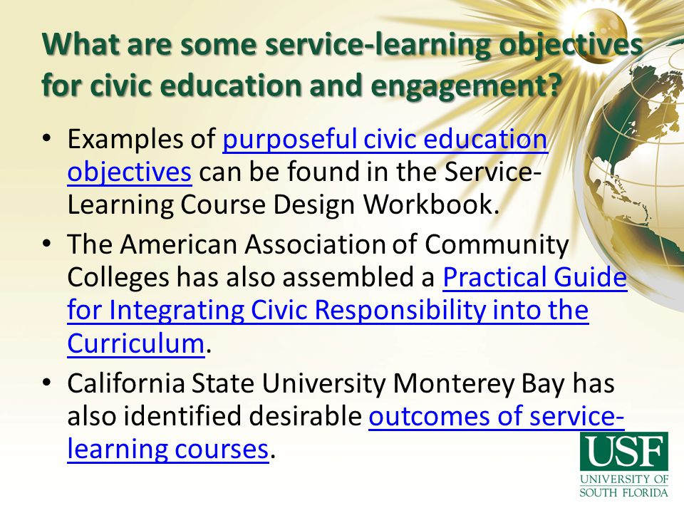 What are some service-learning objectives for civic education and engagement