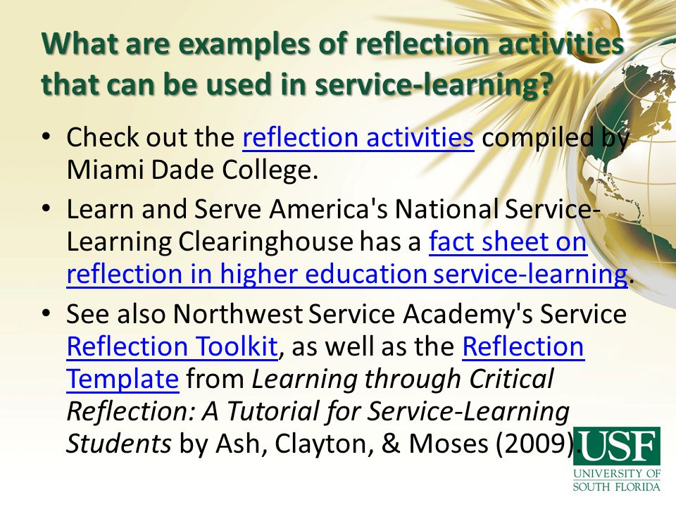 What are examples of reflection activities that can be used in service-learning