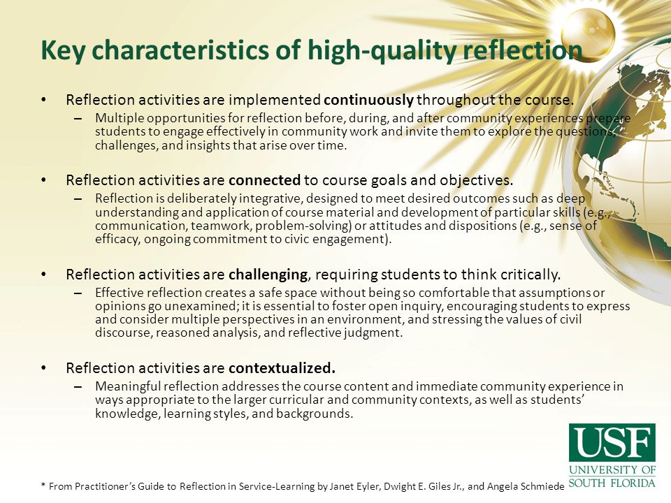 Key characteristics of high-quality reflection