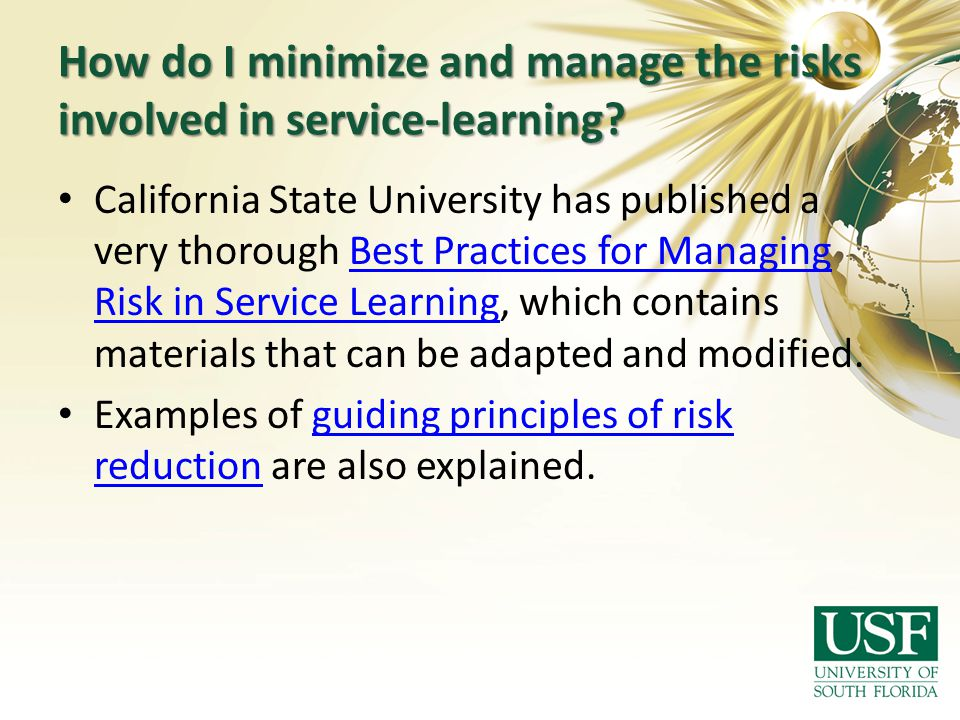 How do I minimize and manage the risks involved in service-learning