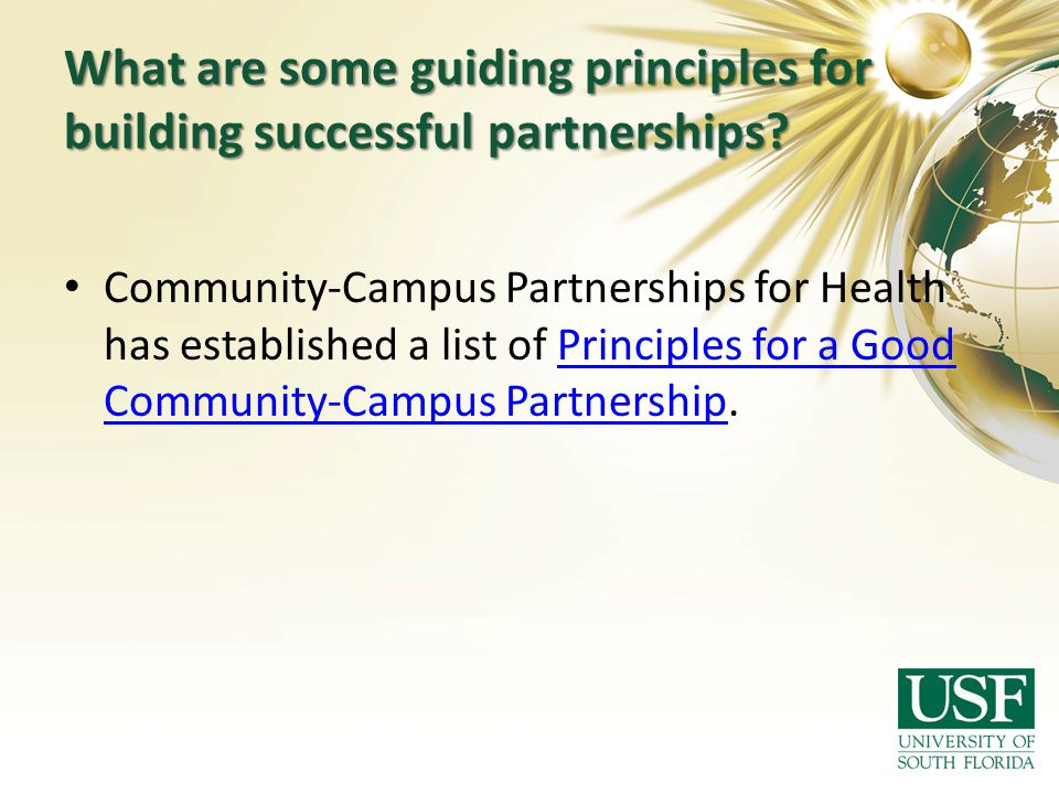 What are some guiding principles for building successful partnerships