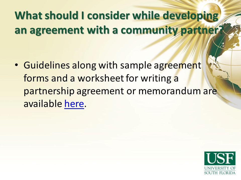 What should I consider while developing an agreement with a community partner