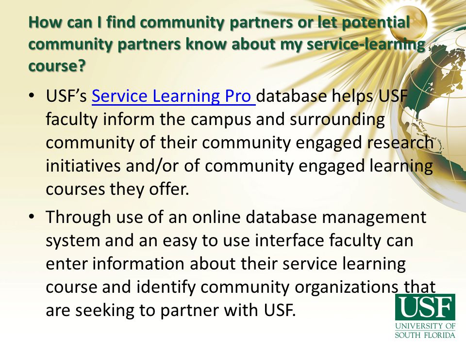 How can I find community partners or let potential community partners know about my service-learning course