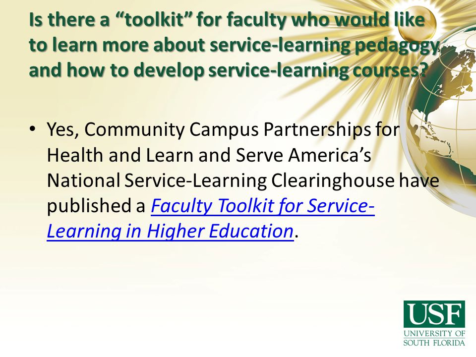 Is there a toolkit for faculty who would like to learn more about service-learning pedagogy and how to develop service-learning courses