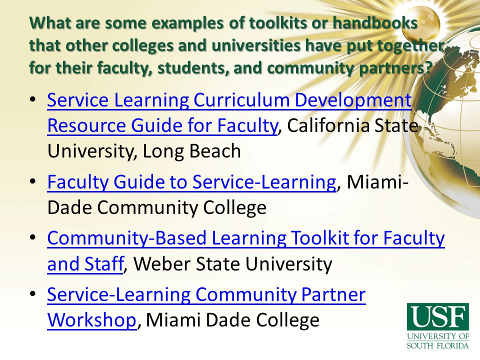 Faculty Guide to Service-Learning, Miami-Dade Community College