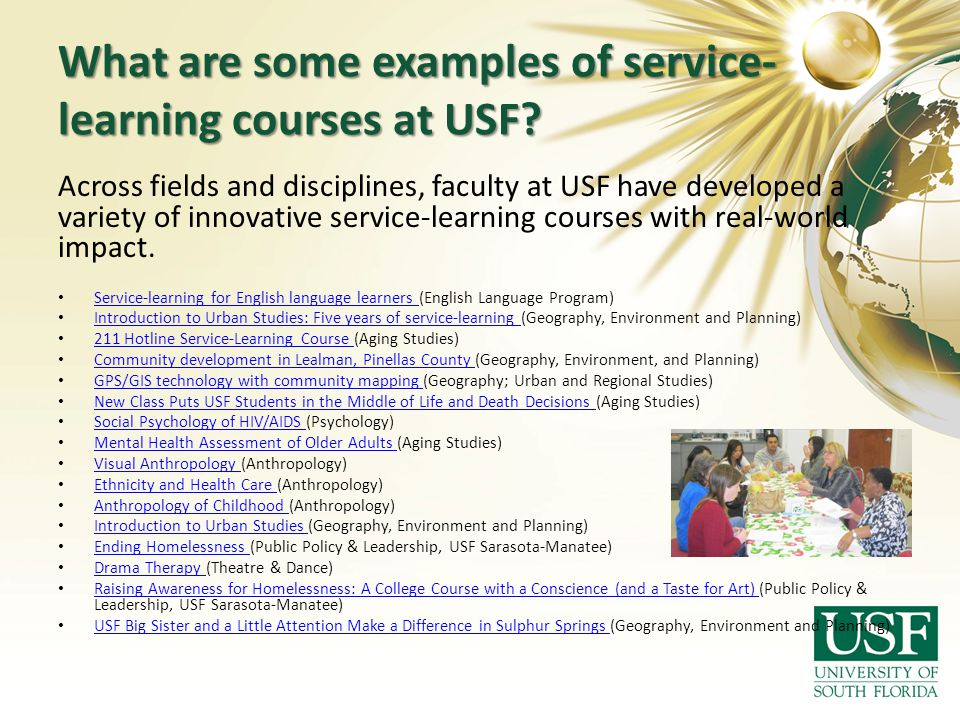 What are some examples of service-learning courses at USF