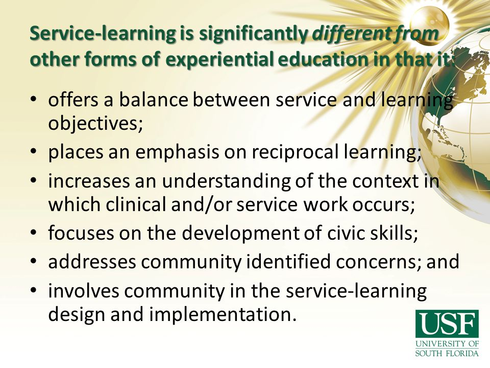 Service-learning is significantly different from other forms of experiential education in that it: