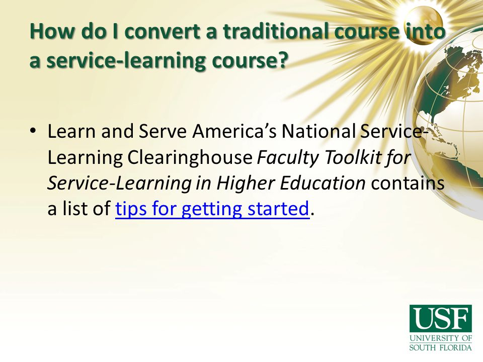 How do I convert a traditional course into a service-learning course