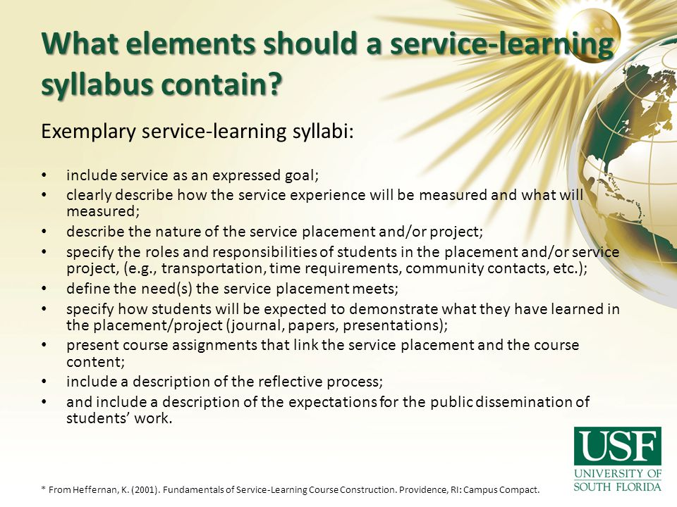 What elements should a service-learning syllabus contain
