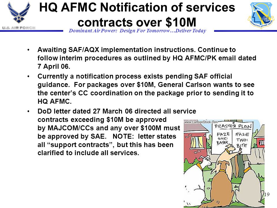 HQ AFMC Notification of services contracts over $10M