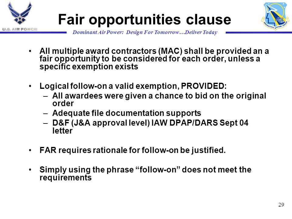 Fair opportunities clause