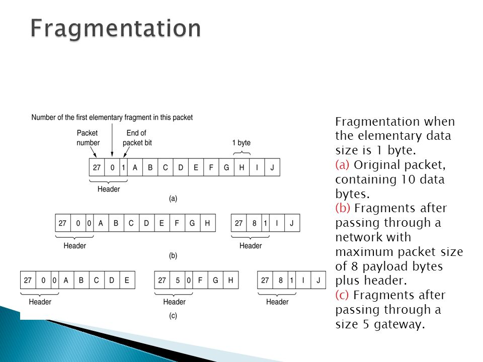 Fragmentation Fragmentation when the elementary data size is 1 byte.