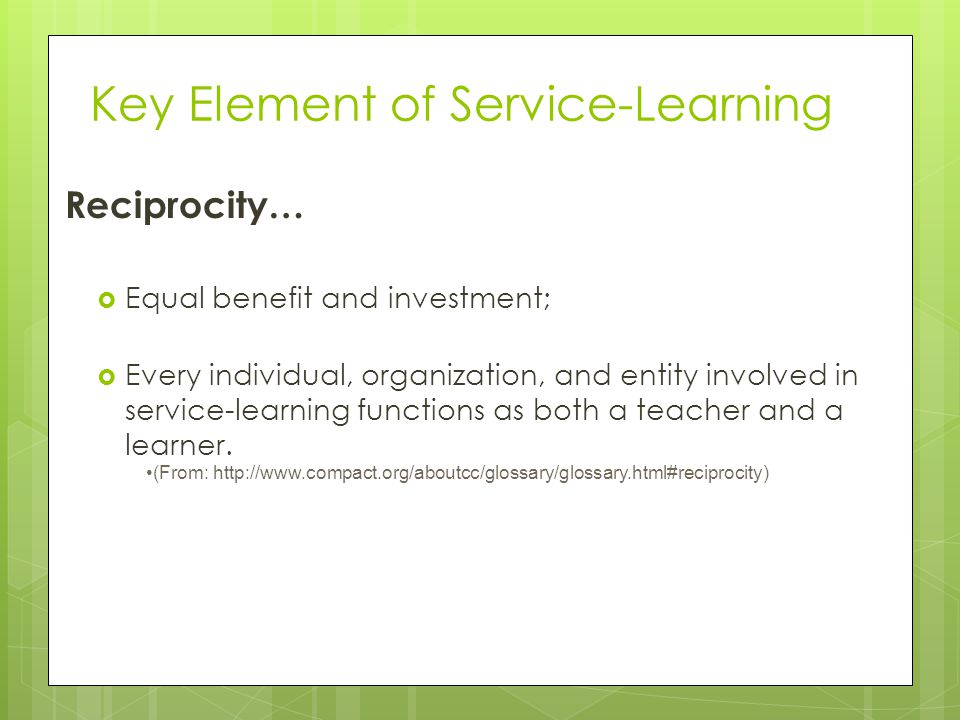 Key Element of Service-Learning