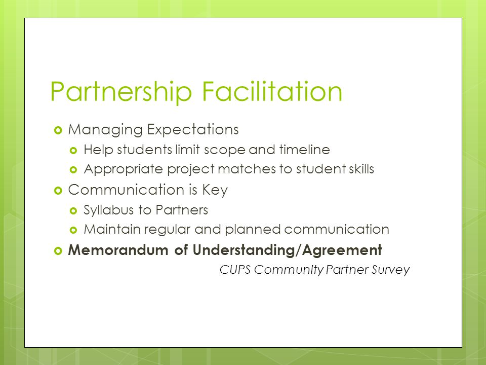 Partnership Facilitation