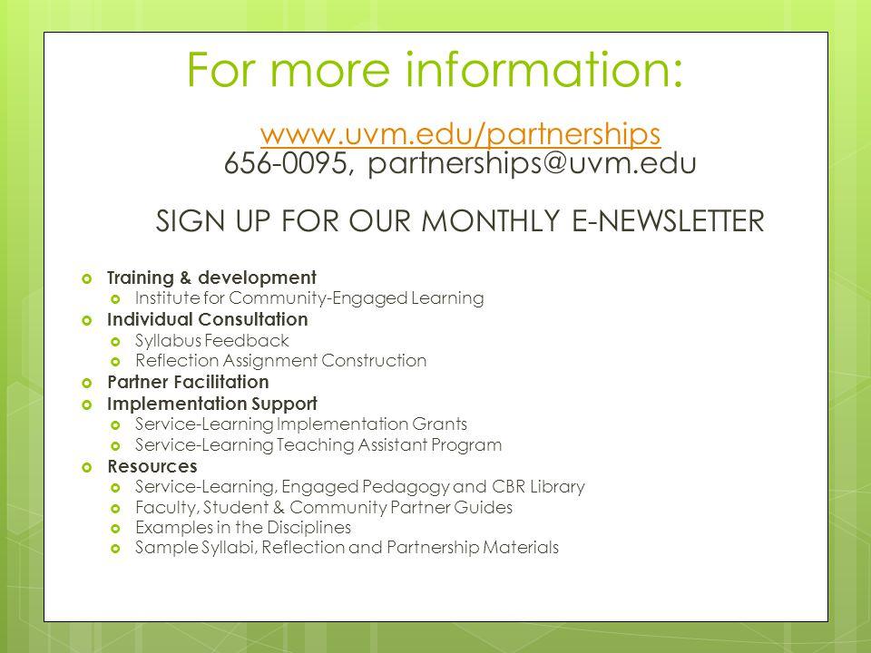 For more information: www.uvm.edu/partnerships