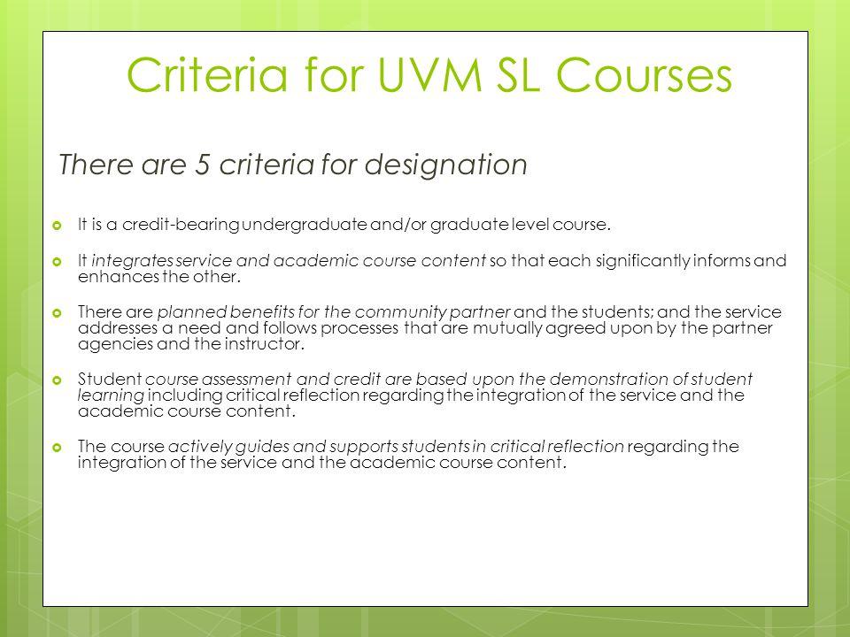 Criteria for UVM SL Courses