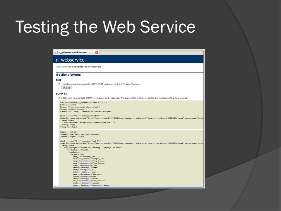 Testing the Web Service