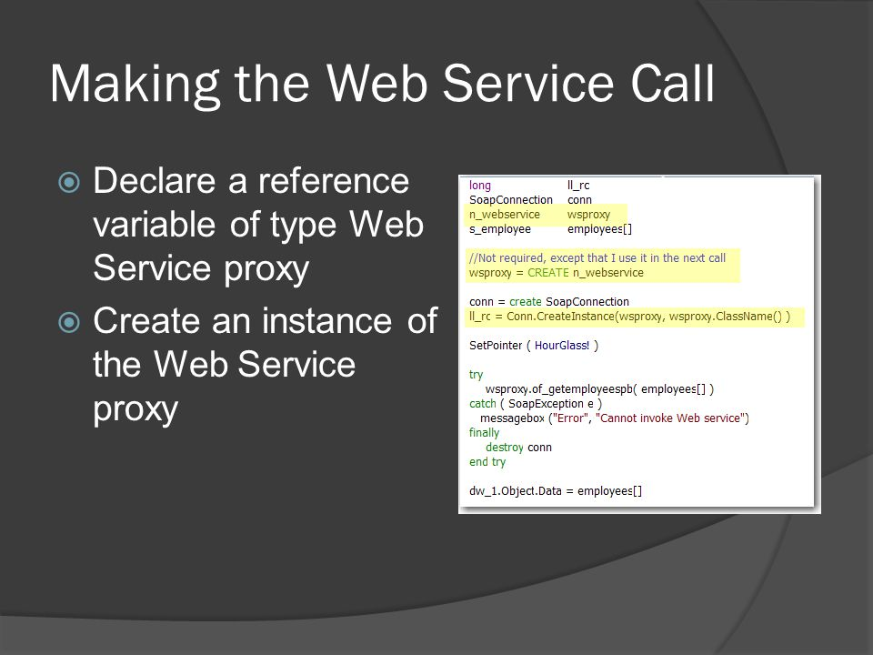 Making the Web Service Call