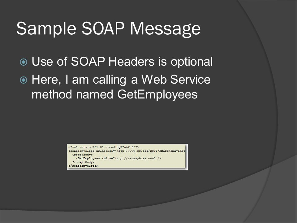Sample SOAP Message Use of SOAP Headers is optional