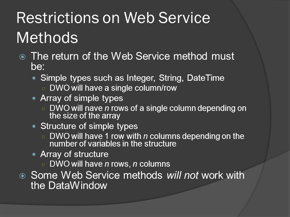 Restrictions on Web Service Methods