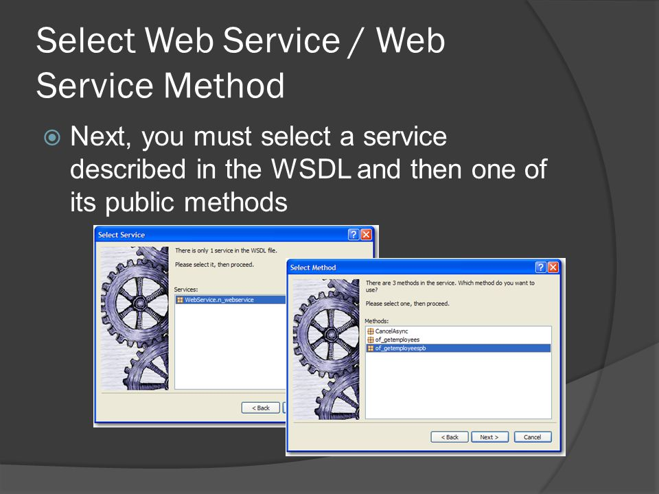 Select Web Service / Web Service Method