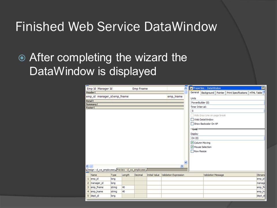 Finished Web Service DataWindow